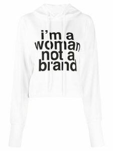 Erika Cavallini slogan-print cropped hoodie - White