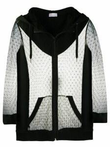 RedValentino REDValentino polka-dot mesh hoodie - Black