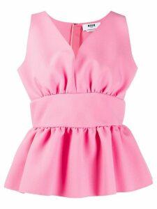 MSGM peplum V-neck blouse - PINK