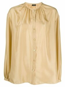 Joseph band-collar gathered satin blouse - Yellow