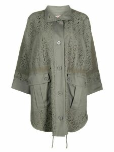Twin-Set oversized lace insert jacket - Green