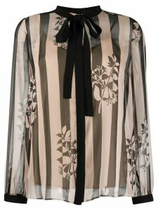 Twin-Set sheer striped print blouse - NEUTRALS
