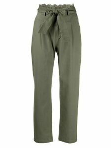 Twin-Set broderie anglaise canvas trousers - Green