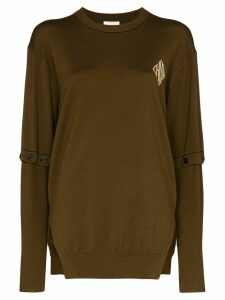 Chloé logo-print fine-knit wool jumper - Brown