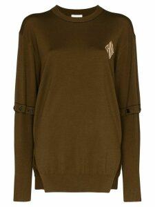 Chloé logo-print fine-knit wool jumper - Brown
