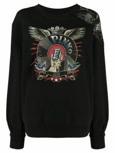 Pinko vintage-print oversized sweatshirt - Black