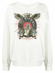 Pinko vintage-print oversized sweatshirt - White