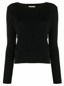 Patrizia Pepe floral-pattern ribbed jumper - Black