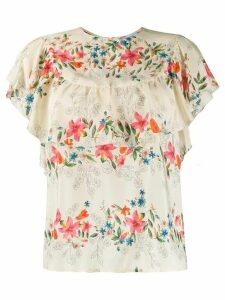 RedValentino frilled floral print blouse - NEUTRALS