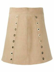 Alberta Ferretti eyelet-embellished skirt - NEUTRALS