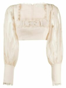 Zimmermann Super Eight linen cropped blouse - PINK