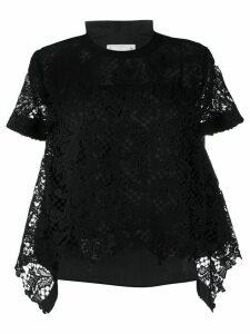 Sacai sheer sleeve T-shirt - Black