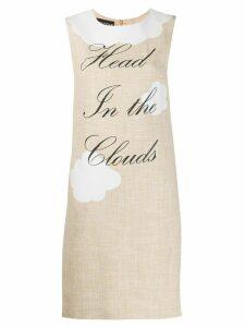 Boutique Moschino slogan print dress - NEUTRALS