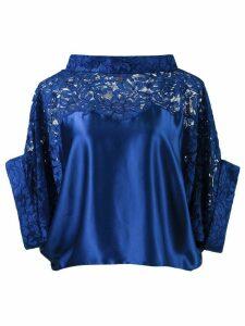 Martha Medeiros lace panel crop blouse - Blue