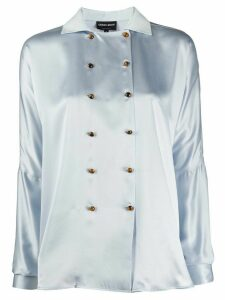Giorgio Armani double-breasted silk blouse - Blue