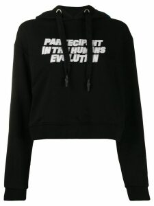 Omc graphic print cropped hoodie - Black
