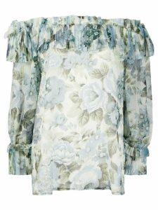 P.A.R.O.S.H. off the shoulder floral print blouse - Blue