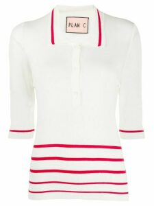 Plan C striped polo shirt - White