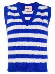 Plan C striped cable-knit sweater vest - Blue