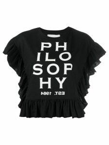 Philosophy Di Lorenzo Serafini ruffled logo-print top - Black