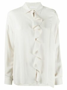 Fabiana Filippi long-sleeved ruffled detail blouse - White