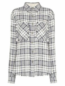 Faith Connexion frayed checked overshirt - White