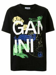 GANNI graphic logo print T-shirt - Black