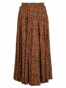 Proenza Schouler White Label printed-dot pleated skirt - ORANGE