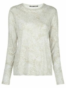 Proenza Schouler palm printed long sleeve T-shirt - Blue