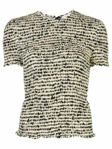 Proenza Schouler White Label Inky Dot smocked top