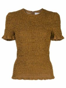 Proenza Schouler White Label broderie anglaise smocked top - Brown