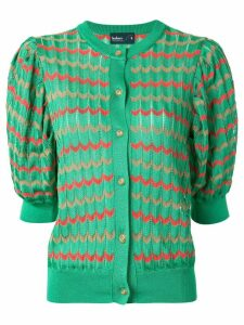 Kolor chevron pattern puff-shoulder cardigan - Green