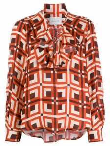 Johanna Ortiz ruffled neck geometric print blouse - Red
