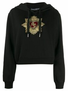 Dolce & Gabbana Sacred heart-embroidery cotton hoodie - Black