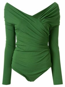 Alexandre Vauthier pleated long-sleeved top - Green