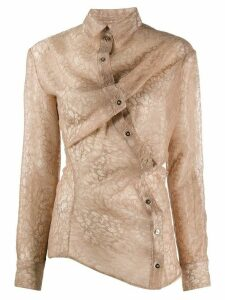 Y/Project lace sheer asymmetric shirt - NEUTRALS