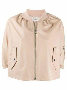 RedValentino cape-style ruffled bomber jacket - NEUTRALS