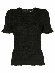 Proenza Schouler White Label broderie anglaise smocked top - Black