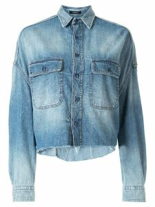 R13 cropped frayed hem shirt - Blue