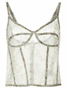 R13 silk floral print camisole - Green