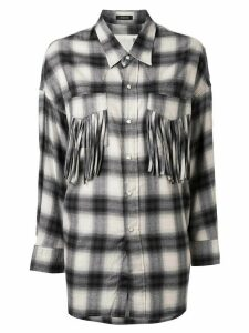 R13 fringed pocket plaid shirt - Grey
