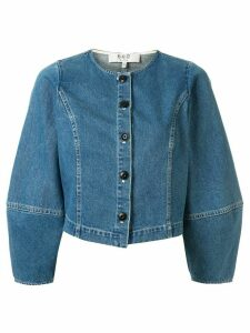 Sea balloon-sleeve denim shirt - Blue