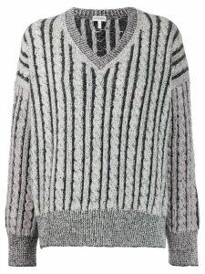 Loewe striped wool knitted jumper - Grey