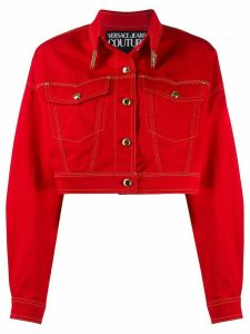 Versace Jeans Couture contrast-stitching cropped denim jacket - Red