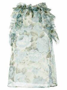 P.A.R.O.S.H. floral print ruffle trim blouse - Blue