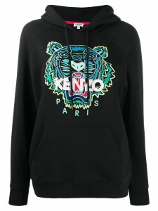 Kenzo tiger-embroidered hooded sweatshirt - Black