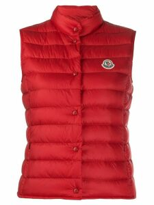 Moncler logo patch down gilet - Red