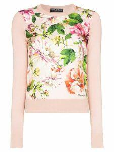 Dolce & Gabbana floral print panel jumper - PINK