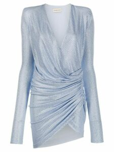 Alexandre Vauthier rhinestone-embellished ruched dress - Blue
