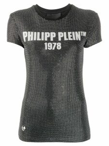 Philipp Plein encrusted rhinestone logo T-shirt - Black